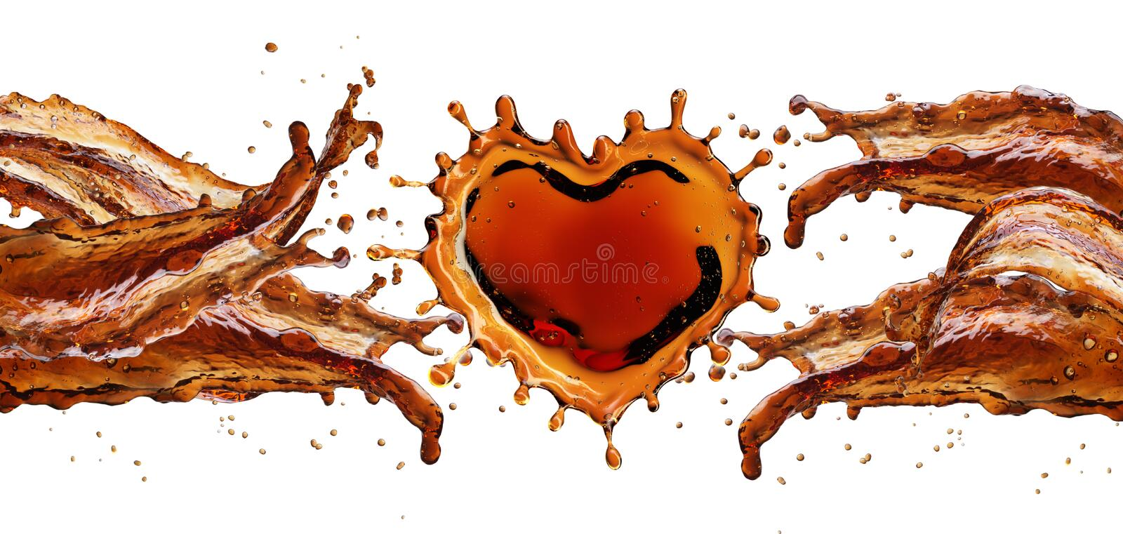 Download Heart From Cola Splash With Bubbles Isolated On White Stock Photo - Image of flowing, life: 101494900