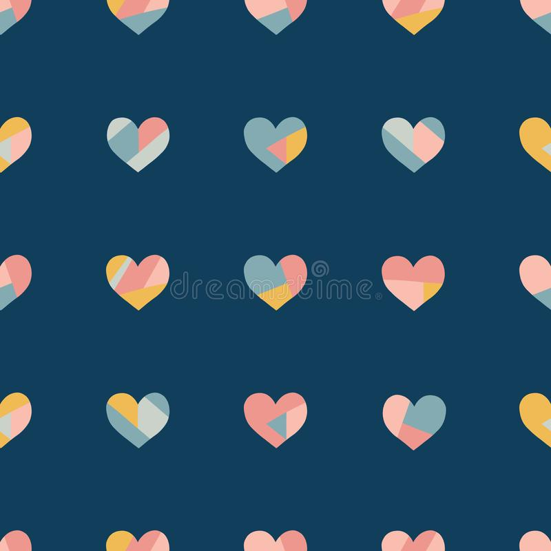 Heart collage seamless vector pattern. Contemporary collage of hearts. Paper cut out style. Modern abstract background pink coral royalty free illustration