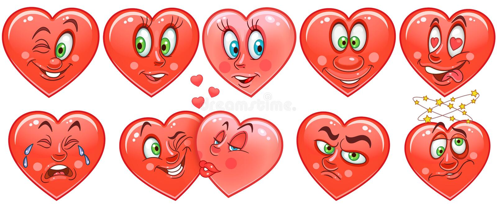 Heart collection. Emoticons. Smiley. Emoji. Love symbol stock image