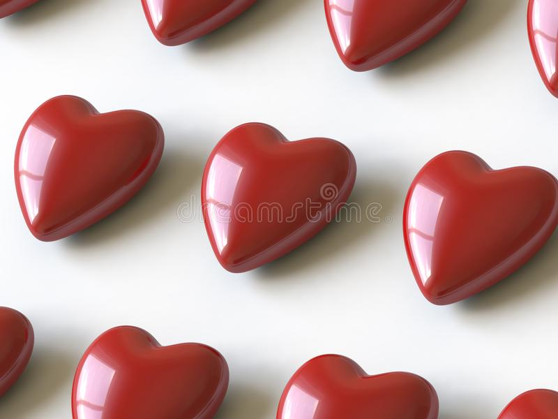 Heart collection - push here stock photo