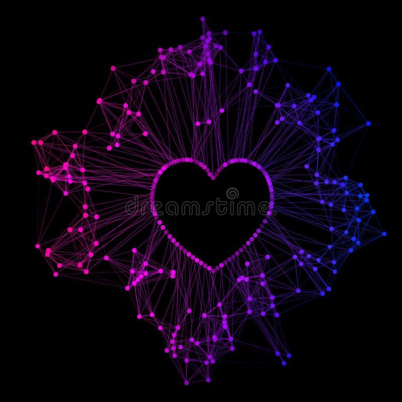 Heart color polygonal digital futuristic wire frame shape. Vector illustration royalty free illustration