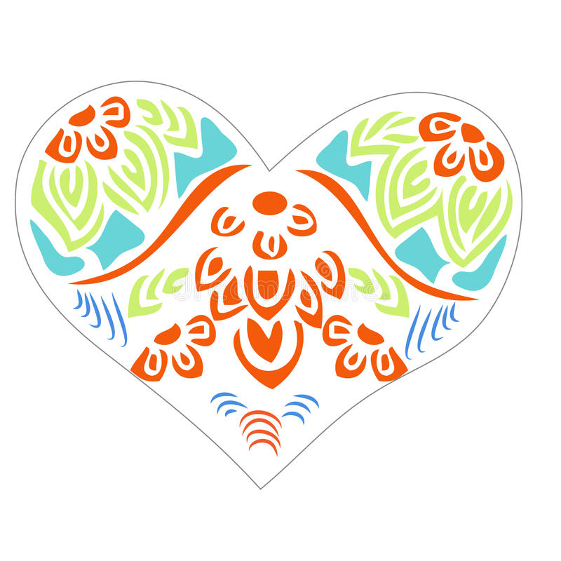 Heart colorful floral detail stock illustration