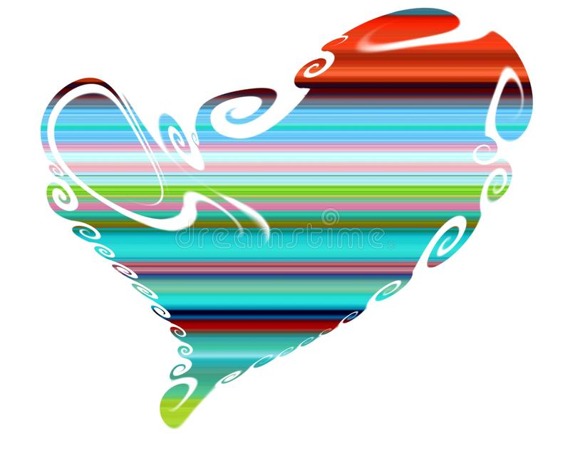 Heart. Colorful isolated heart, shapes and lines royalty free stock photography