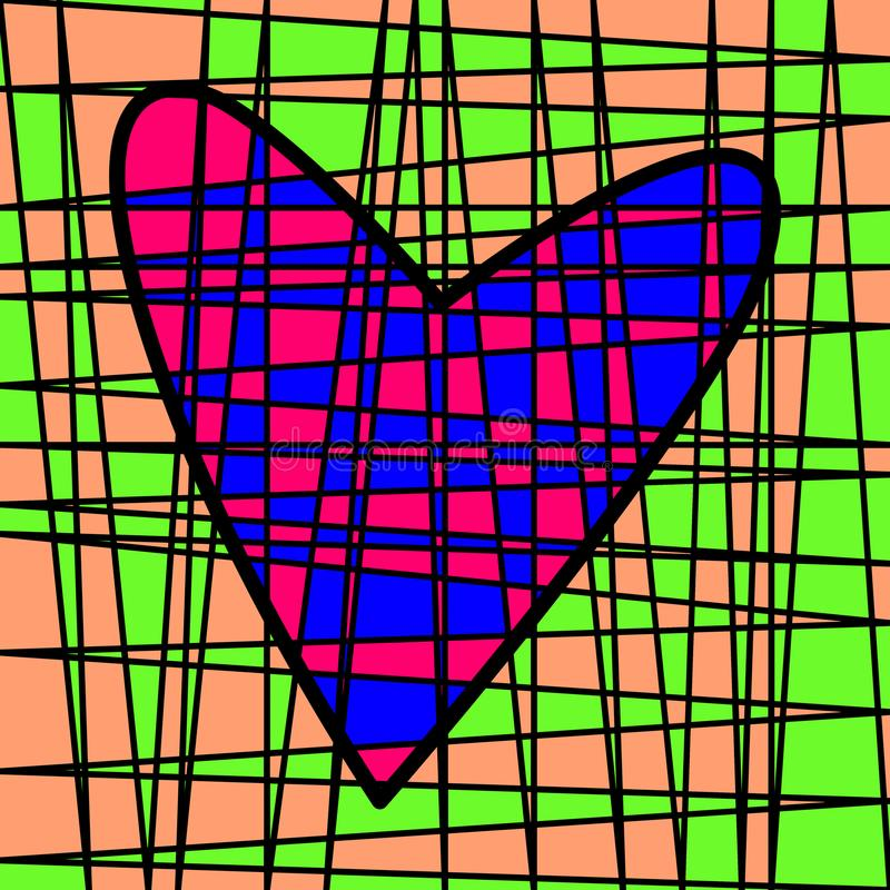 Heart colorful tiled patchwork. Colored plot stock image