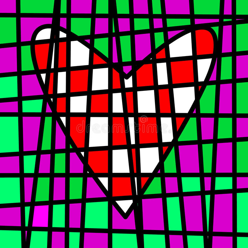 Heart colorful tiled patchwork. Colored plot vector illustration