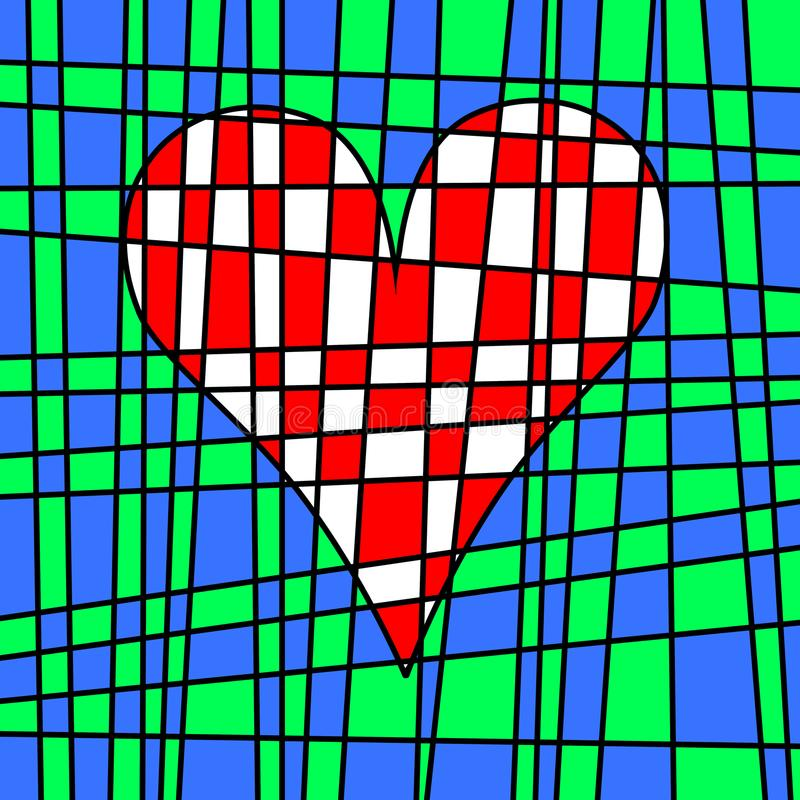 Heart colorful tiled patchwork. Colored plot weaving. stock illustration