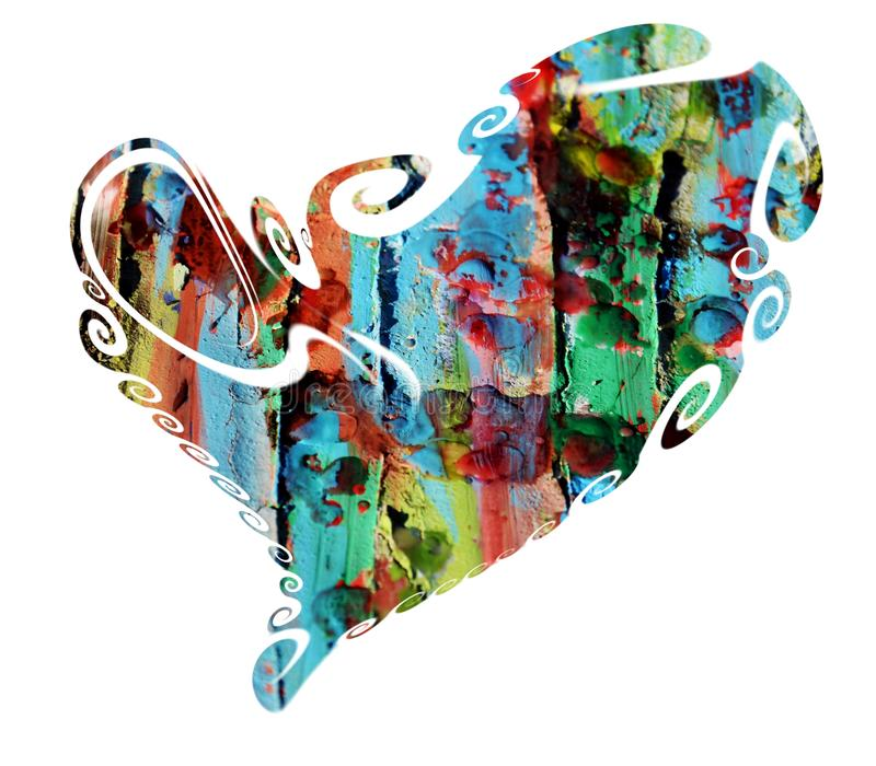 Heart. Colorful wax paint heart stock images