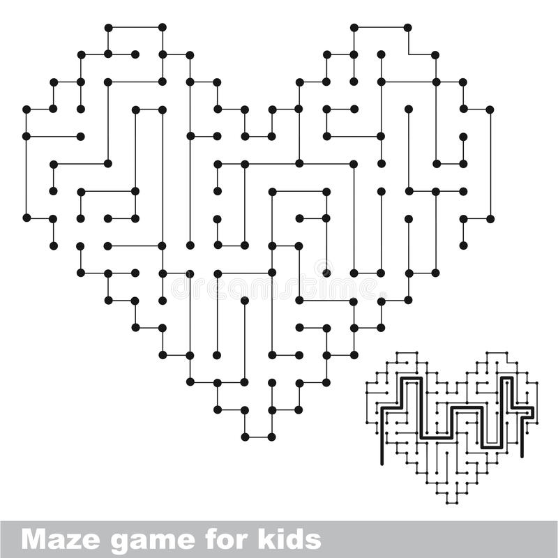 Heart colorless kid maze game. Search the way. stock illustration
