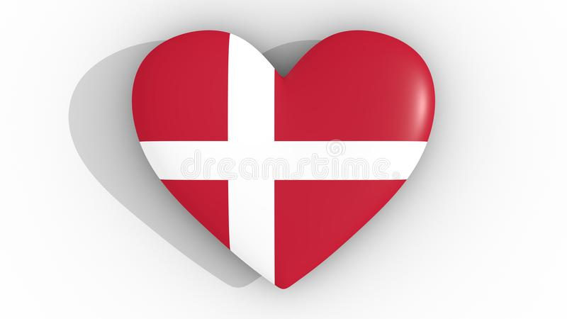 Heart In The Colors Of Denmark Flag On A White Background 3d