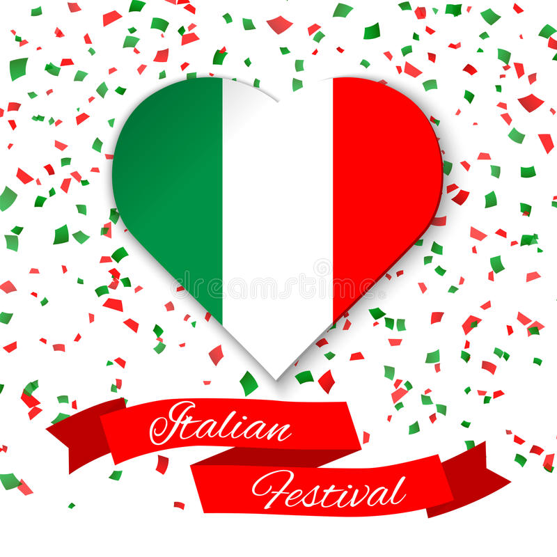 Heart in colors of italian flag with confetti. Greeting card, poster for National Day of Italy celebrated on 2 June. stock illustration