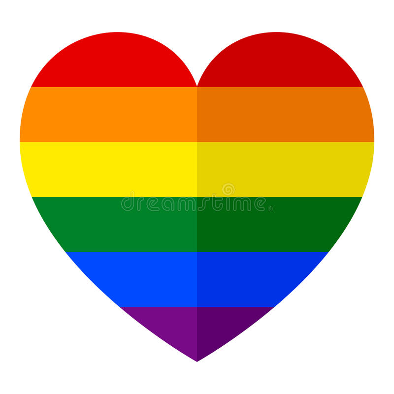 LGBT Rainbow Heart Flat Icon on White royalty free illustration