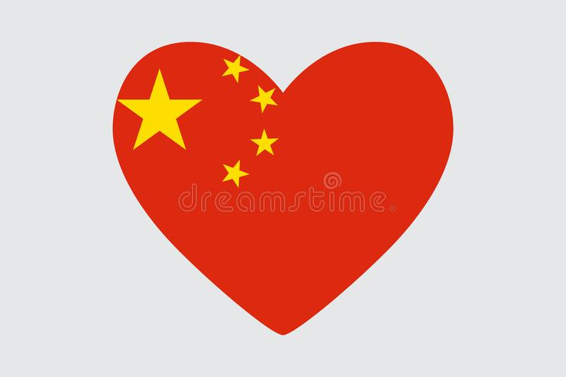 Heart In Colors And Symbols Of The China Flag Stock Illustration
