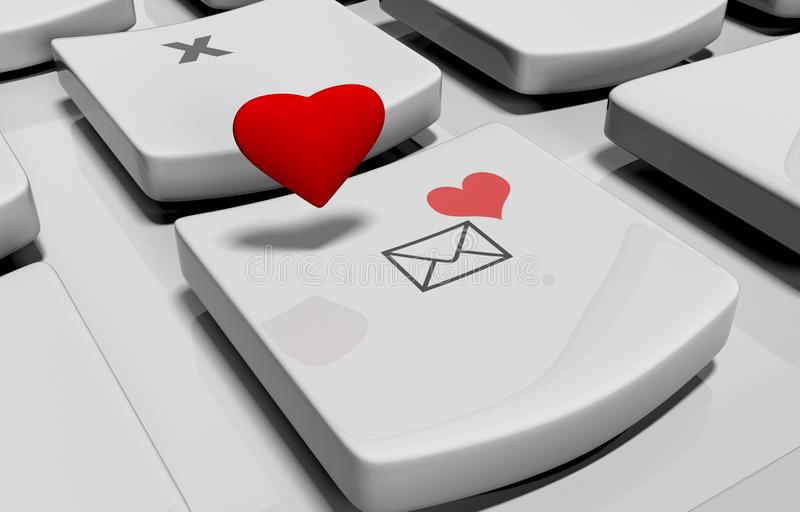Heart on computer keyboard royalty free illustration