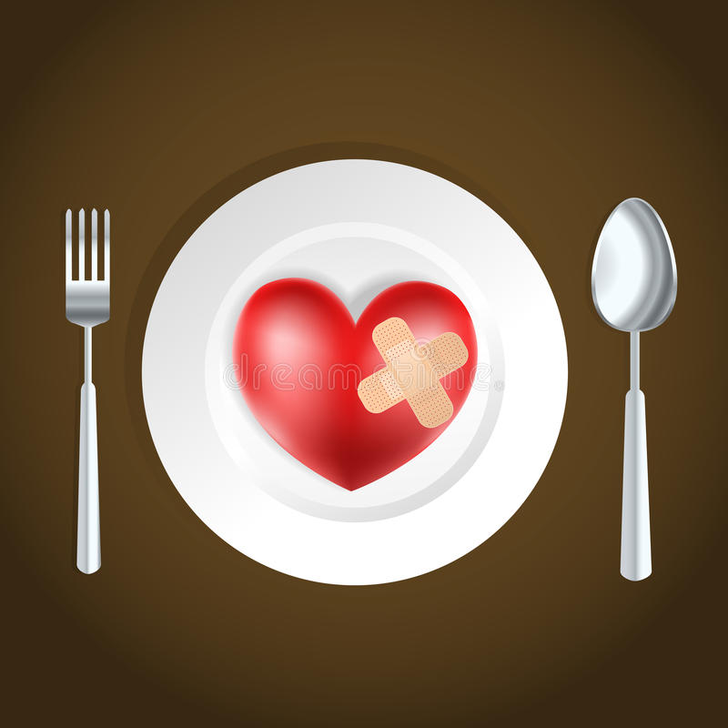 Heart concept. Heart health concept fork, knife and heart stock illustration