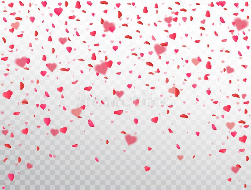 Heart confetti falling on transparent background. Flower petal in shape of heart. Color confetti for greeting cards, wedding stock illustration