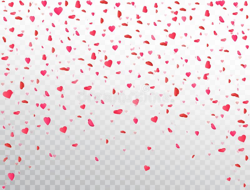 Heart confetti falling on transparent background. Flower petal in shape of heart. Valentines Day background. Color confetti for vector illustration