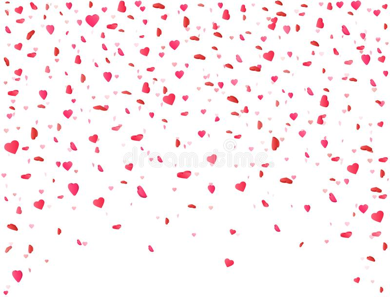 Heart confetti falling on white background. Flower petal in shape of heart. Valentines Day background. Color confetti for greeting vector illustration