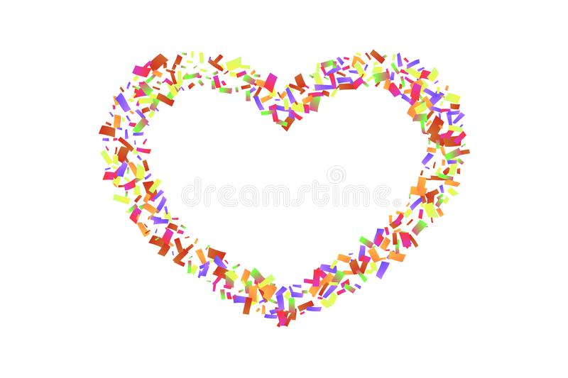 Heart confetti isolated white background. Fall color confetti, heart-shape. Valentine day holiday, romantic wedding. Border card. Valentines decoration frame royalty free illustration