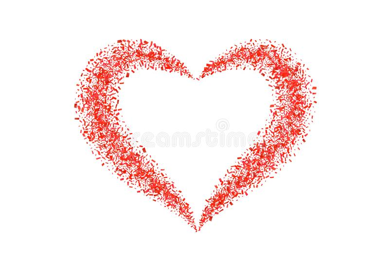 Heart confetti isolated white background. Fall red confetti, heart-shape. Valentine day holiday, romantic wedding border. Card. Valentines decoration frame vector illustration