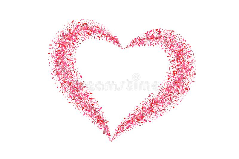 Heart confetti isolated white background. Fall red confetti, heart-shape. Valentine day holiday, romantic wedding border. Card. Valentines decoration frame royalty free illustration