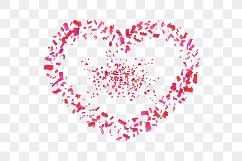 Heart confetti isolated white transparent background. Fall red confetti, heart-shape. Valentine day holiday, romantic. Wedding border card. Valentines vector illustration