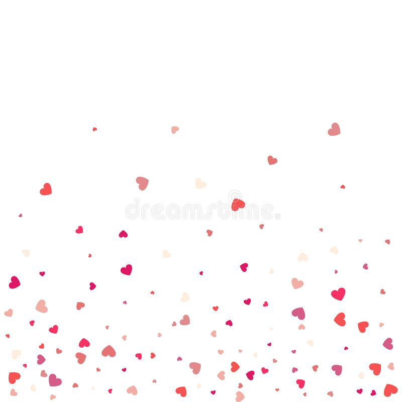 Heart confetti of Valentines petals falling on white background. Flower petal in shape of heart confetti for Women`s Day stock illustration