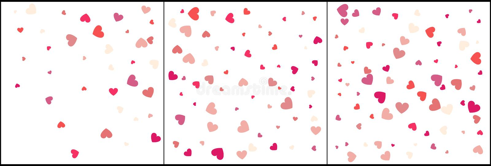 Heart confetti of Valentines petals falling on white background. Flower petal in shape of heart confetti for Women`s Day. Set 3 i stock illustration