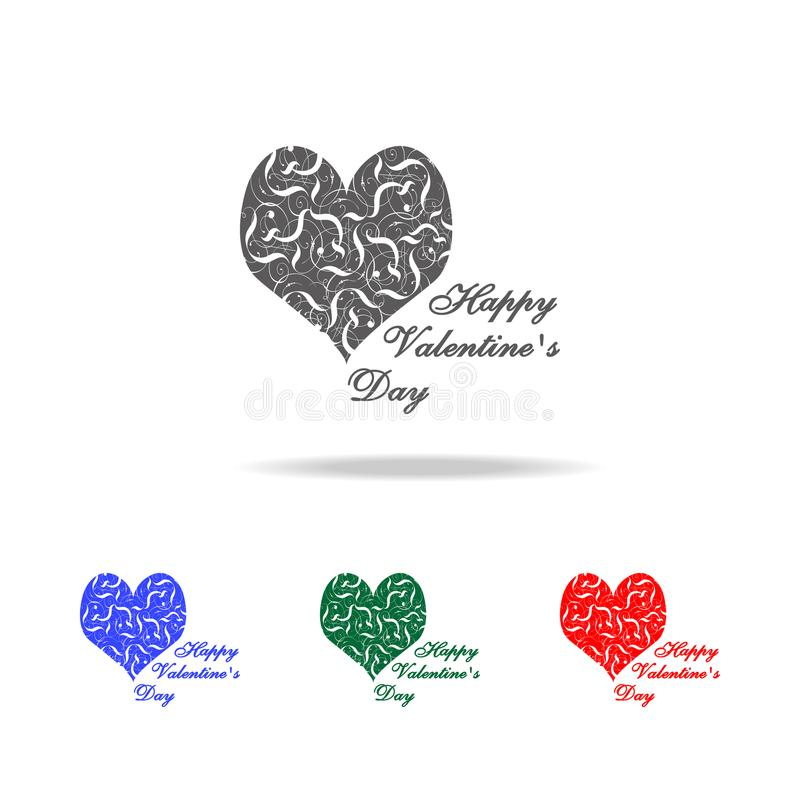 heart with congratulations icon. Elements of Valentine's Day in multi colored icons. Premium quality graphic design icon. Simple vector illustration