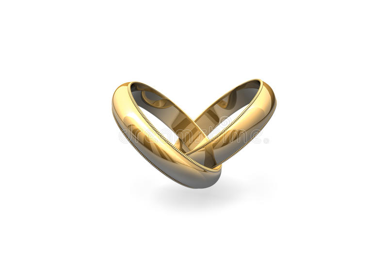 Heart connection. Gold wedding rings isolated on white batskground (heart-shaped stock illustration