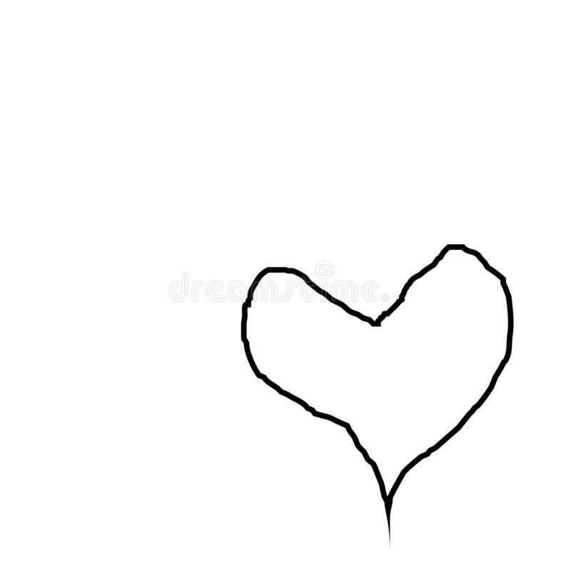 Heart contour in black, illustration for creating a screensaver template. vector illustration