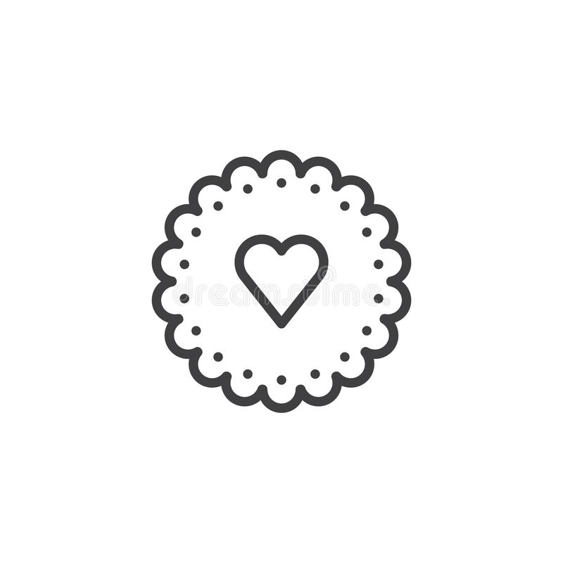 Heart cookie line icon. Outline vector sign, linear style pictogram isolated on white. Symbol, logo illustration. Editable stroke vector illustration