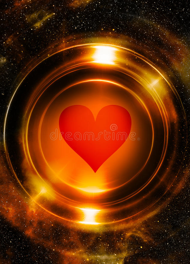 Heart and cosmic space, with light circle. With light triangle structure. Copy space vector illustration