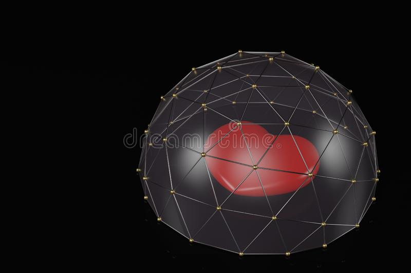 Heart covered by glass dome protection and security concept 3D illustration.  royalty free illustration