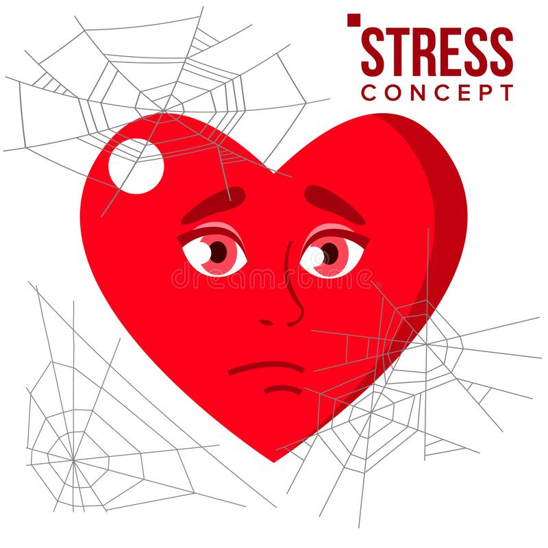 Heart Covered In Spiderweb Cobwebs, Stress Concept Vector. Isolated Cartoon Illustration royalty free illustration