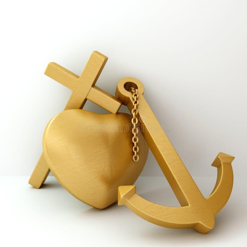 Heart cross anchor 3d illustration stock illustration