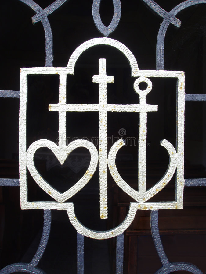Heart, cross and anchor royalty free stock photography