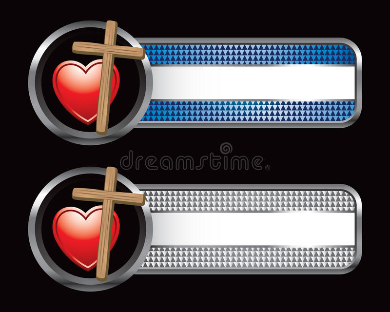 Heart on cross on blue and silver checkered banner