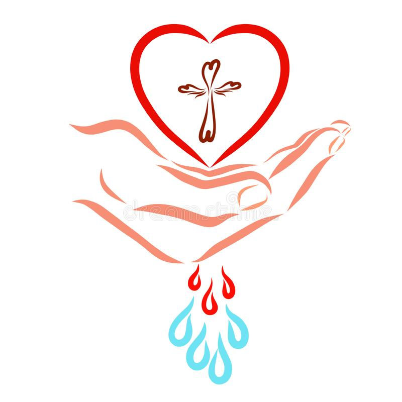 Heart with a cross in hand and healing drops stock illustration