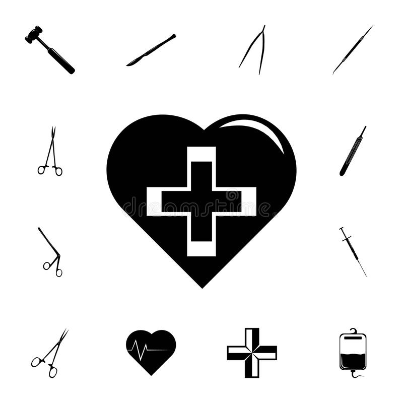 heart and cross medical icon. Detailed set of medicine icons. Premium quality graphic design sign. One of the collection icons for royalty free illustration
