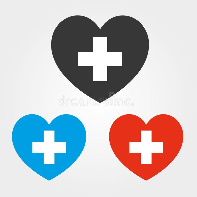 Heart with cross vector icon. Health care, medical symbol. Doctor`s day set, emblem isolated on white background. Flat style for. Graphic and web design, logo royalty free illustration