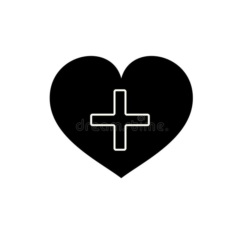 Heart with a cross vector icon. Healthcare, Medical symbol. Doctor s day sign, emblem isolated on white background with shadow. stock illustration