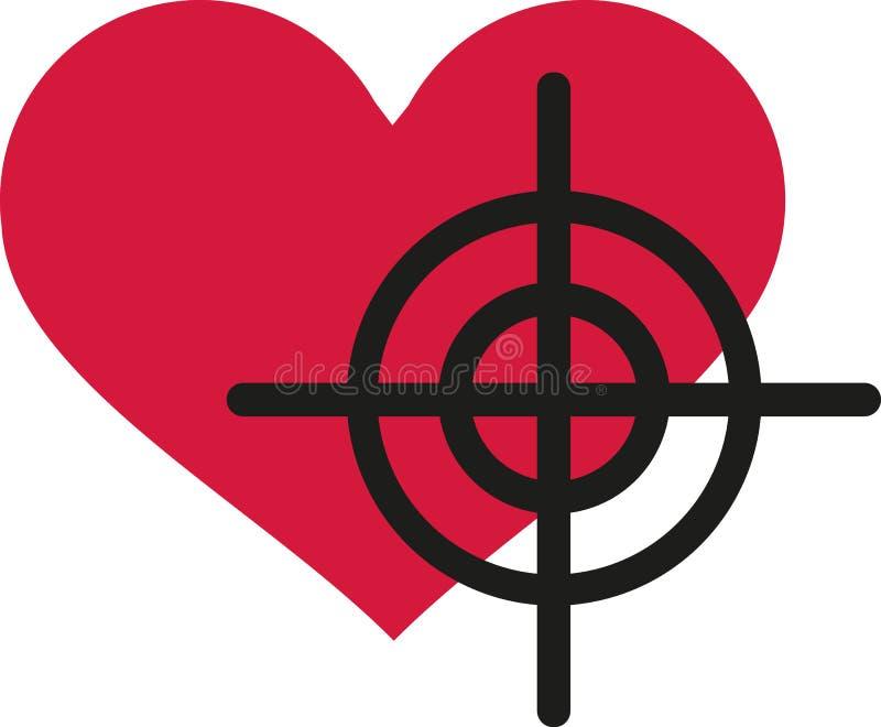 Heart with crosshair. Love vector stock illustration