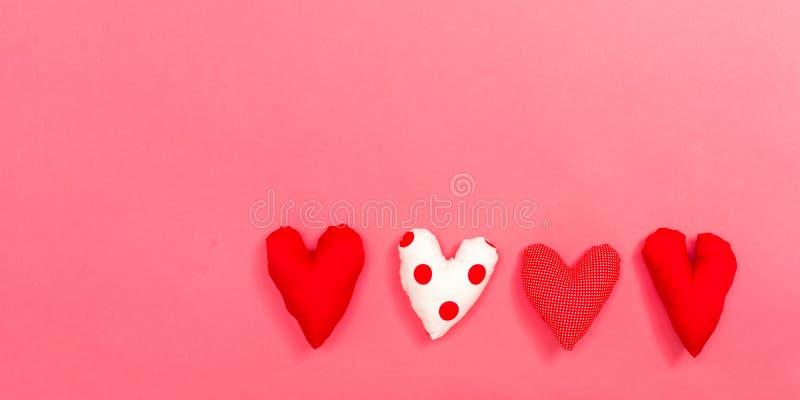 Heart cushions Valentine`s day theme stock photo
