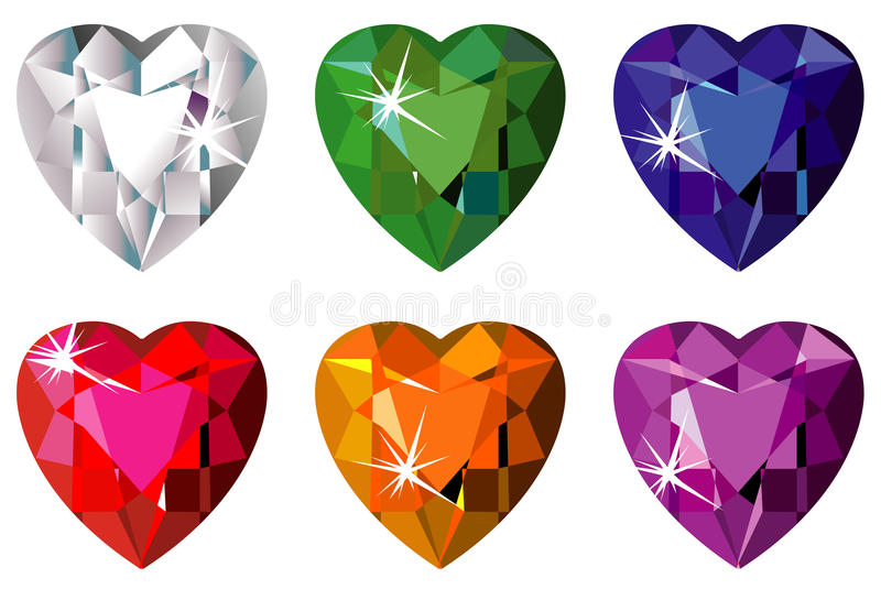Download Heart Cut Precious Stones With Sparkle Stock Vector - Illustration: 11415541