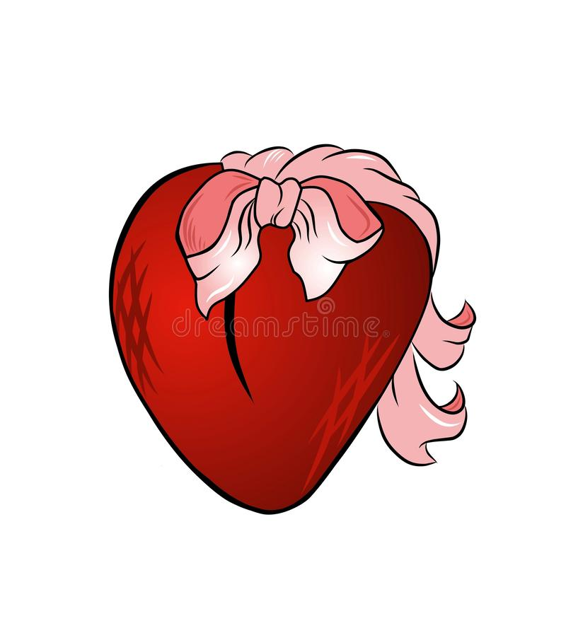 Heart decorated bow illustration isolated on white background. royalty free illustration