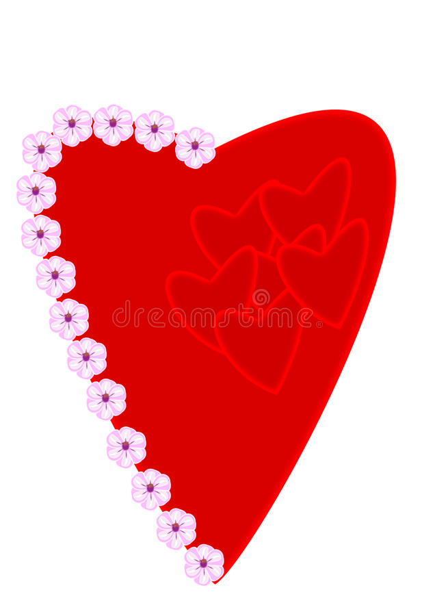 Heart decorated with flowers stock image