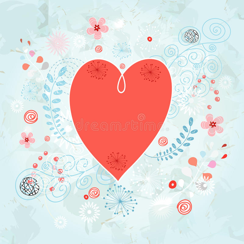 Heart on a decorative background royalty free illustration
