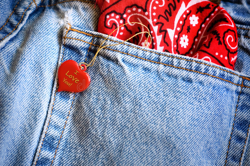 Heart and denim jeans royalty free stock image