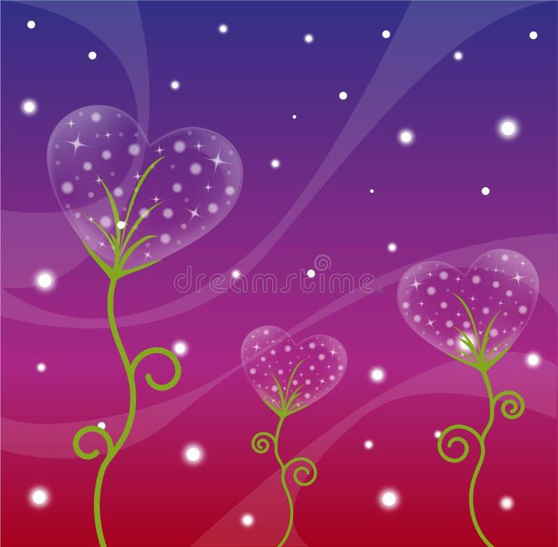 Heart design. Flower background with transparent heart, star and wave pattern. Vector illustration stock illustration