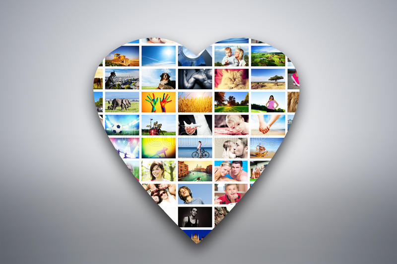 Heart design element made of pictures of people, animals and places. Heart design element made of pictures, photographs of people, animals and places. Conceptual royalty free illustration